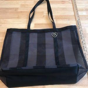 Victoria Secret shopping tote black sheer large